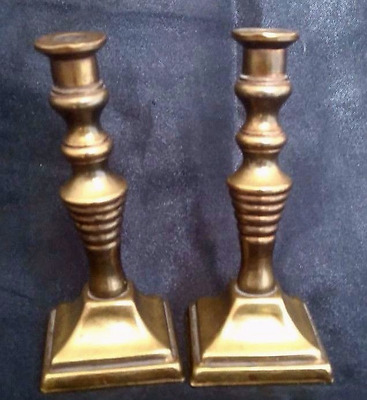 A PAIR OF SMALL BRASS CANDLESTICK HOLDERS 9cm TALL PEERAGE ENGLAND