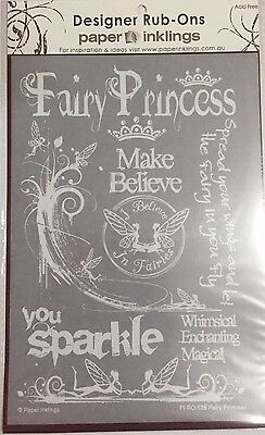 Paper Inklings Rub-Ons: Fairy Princess White **BRAND NEW**