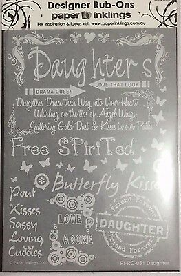 Paper Inklings Rub-Ons: Daughter White **BRAND NEW**