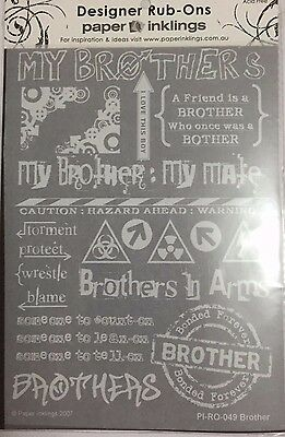 Paper Inklings Rub-Ons: Brother White **BRAND NEW**