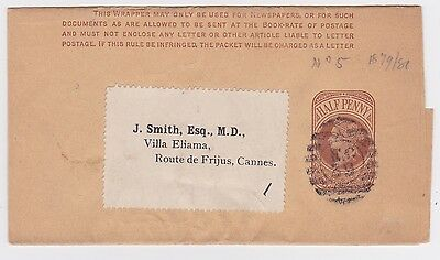 GB QV ½d POSTAL STATIONERY WRAPPER- CANNES DOCTOR LONDON EC39 NUMERAL c1880