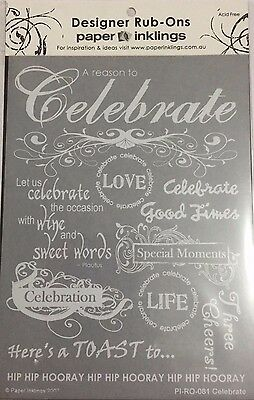 Paper Inklings Rub-Ons: Celebrate White **BRAND NEW**