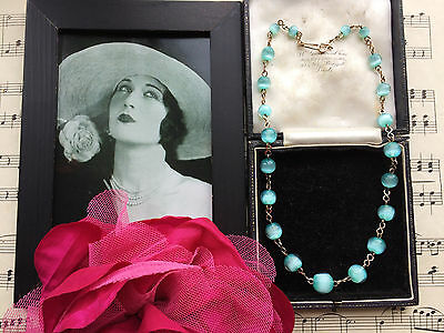RARE Vintage Art Deco Czech Aqua Moonglow Glass Beads Necklace Rolled Gold. GIFT