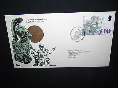 GB first day cover 1993 £10 stamp with a bureau special cancel.