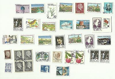 Turkey postage stamps, mainly off paper, used x 48