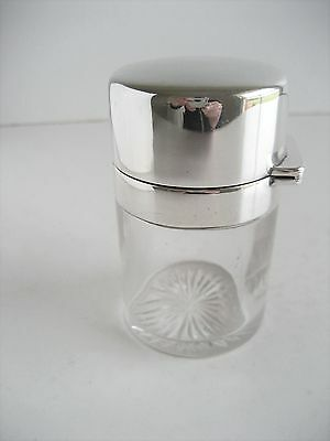 Solid Silver & Glass Dressing Table Cosmetic Jar Pot Birmingham 1910 Hutton