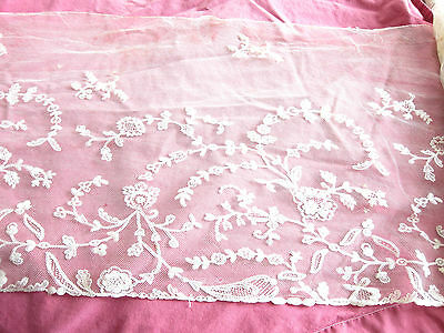 19th Century French  Hand Embroidered Tulle Lace/15ins wide