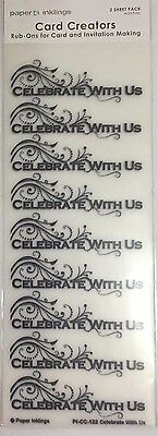 Paper Inklings Card Creator Rub-Ons: Celebrate with Us Black **BRAND NEW**