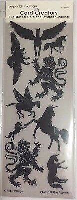 Paper Inklings Card Creator Rub-Ons: Boy Accents Black **BRAND NEW**