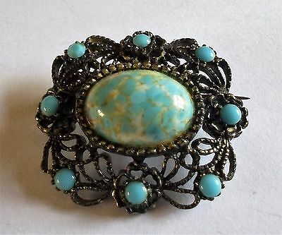 VINTAGE 50s DETAILED SILVER TONE TURQUOISE STONE BEAD FLOWER BROOCH