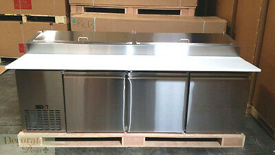 """PIZZA SALAD SANDWICH PREP TABLE 92"""" REFRIGERATED 3 DOOR 24CF Stainless Steel New"""