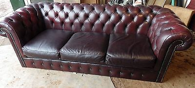 VINTAGE CHESTERFIELD 3 SEATER SOFA in OXBLOOD