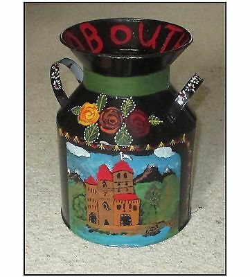 """CANAL BARGEWARE DECORATED 2-HANDLED TIN - """"ABOUTHYME"""" 20.5cm HIGH."""