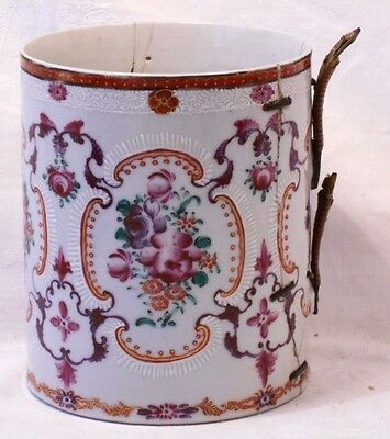Large C18Th Chinese Famille Rose Tankard With Relief Moulding & Hand Painted A/f