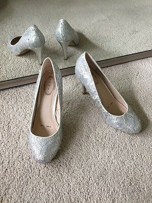 Ladies Debut Silver Sequinned High Heels. Perfect for Party/Wedding Size UK 4