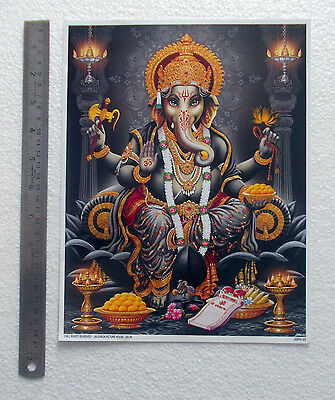 """LORD GANESHA POSTER - High Quality Golden Effect Glossy Paper (9""""x11"""")"""