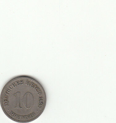 Germany Empire 1897 10  Pfening coin  Nice Circulated