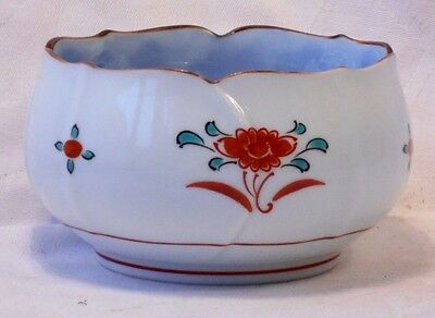 Small Japanese Hand Painted Posy Bowl Decorated With Flowers