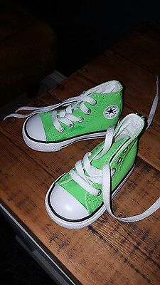 converse uk4 Kids toddler lime green unisex baseball Child boots high top