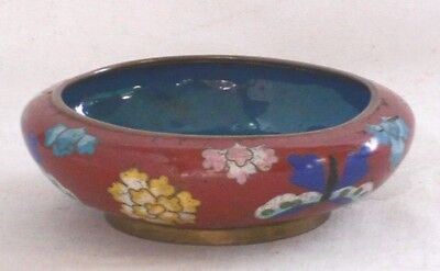 Small Chinese Cloisonne Bowl With Butterflies