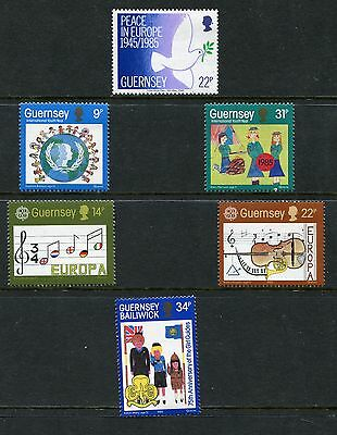 1985 Guernsey Mnh Sg 337-342 Commemorative Stamps