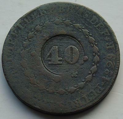 Brazil 40 Reis 1835 Countermarked Coinage - 80 Reis 1829, Large Copper Coin 39mm