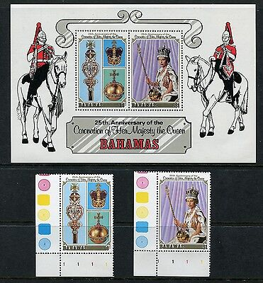 1978 BAHAMAS MNH SG 515-516 + MS517 25th ANNIV. OF CORONATION STAMP SET