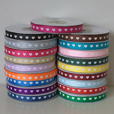 Grosgrain Ribbon 10mm wide with White Hearts - 25 metre full roll Choose Colour