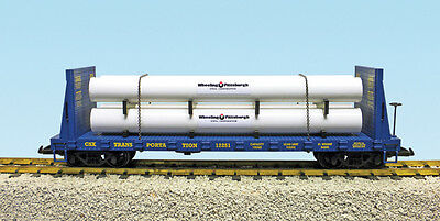USA Trains G Scale 17604 Pipe Load Flat Car C S X Transportation blue