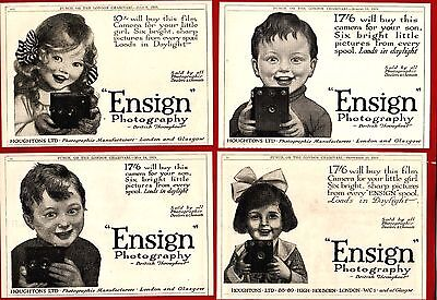 """ENSIGN"" PHOTOGRAPHY -- Houghton's, London & Glasgow (1919 Advertisements)"