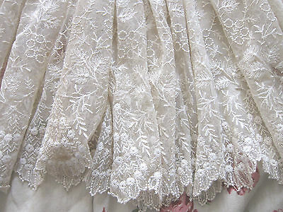 19th Century French  Hand Embroidered Tulle Lace/48ins wide