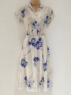 Vintage 80's Cream & Blue Floral Print Cap Sleeve Casual Day Dress Size 10-12