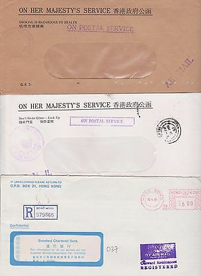 Hong Kong Outward remittances Registered cover S/C/Bank + O.H.M.S Air mail pair.