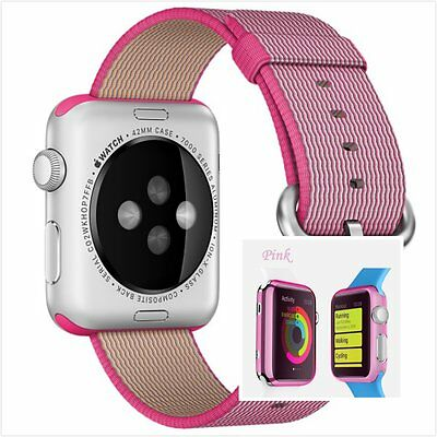 Pink Woven Nylon Wrist Band Strap Bracelet Apple Watch 42mm Clear Pink Case