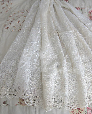 19th Century French  Hand Embroidered Tulle Lace/37ins wide