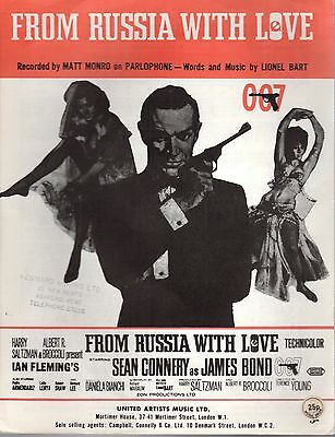 From Russia With Love JAMES BOND 007 Sean Connery Sheet Music 1963