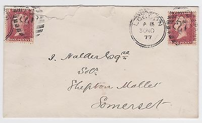 1877 QV 2x1d RED LONDON AB 27 DIAMOND COVER- SHEPTON MALLET SOMERSET