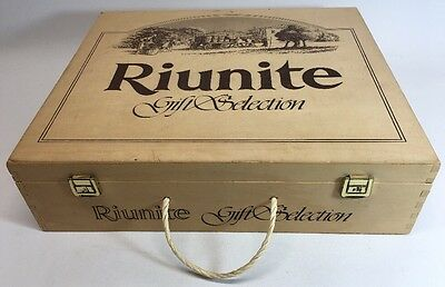 "Riunite Gift Selection Wood Wine Box 14-1/2"" x 12-1/4"" x 4"" Italy Display Decor"