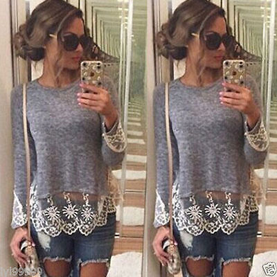 Fashion Womens Summer Vest Top Long Sleeve Blouse Casual Tank Tops T-Shirt Lace