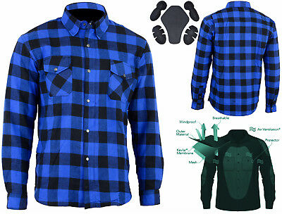 M'rcycle Cotton Flannel Lumberjack Shirt Lined WITH DuPont™ KEVLAR® ARAMID BLUE