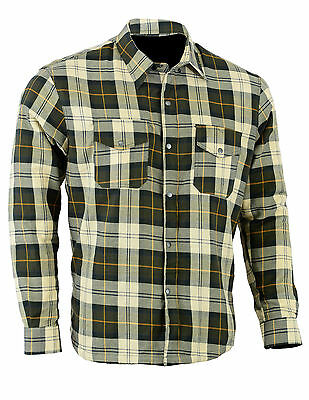 M'rcycle Cotton Flannel Lumberjack Shirt Lined WITH DuPont™ KEVLAR® ARAMID OLIVE
