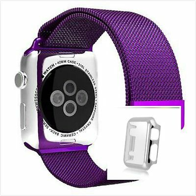 Milanese Purple Magnetic Stainless Steel Watch Strap Band Apple 42mm Silver Case