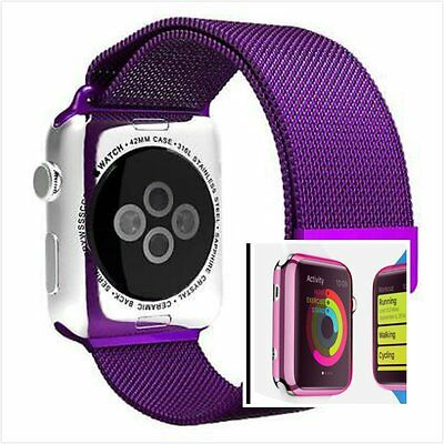 Milanese Purple Magnetic Stainless Steel Watch Strap Band Apple 42mm Pink Case