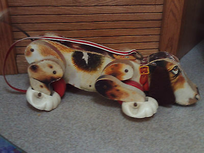 Vintage 1961 Fisher Price wood Snoopy pull toy #181 works