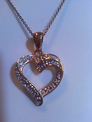 9ct GOLD ON SOLID SILVER DIAMOND SET OPEN HEART PENDANT NECKLACE