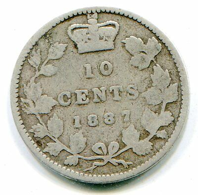 Canada 10 cents 1887 very scarce date    lotfeb6018