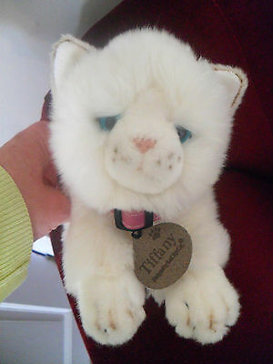 """OFFICIAL KEEL TOYS TIFFANY WHITE CAT 11"""" PINK COLLAR PLUSH soft toy kitten kitty"""