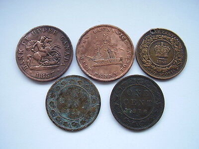 A COLLECTION OF 5 X 19th CENTURY CANADA & PROVENCES COINS.