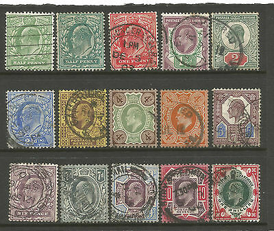 """Gb  Edvii Between Sg215 To 314   """"set Of 15 To 1/-   Fine  Used"""