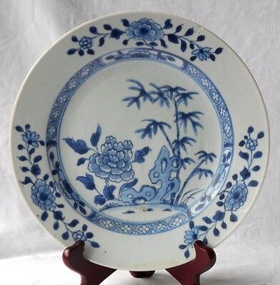 C18Th Chinese Blue And White Plate Decorated With Bamboo And Chrysanthemums